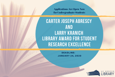 circular teal logo with Cater Joseph Abresy and Larry Kranich Library Award for Student Research Excellence in the middle- picture of an open book in the background