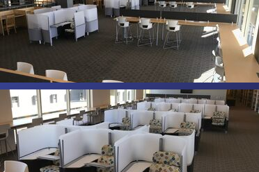 Images of new library furniture on 4th floor