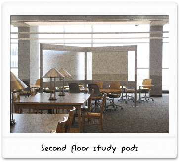 Photo of UCM Library study pods, 2nd floor.