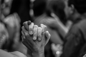 two people's hands together