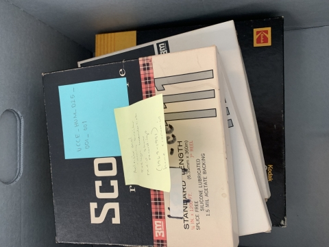 Box of open reel tapes