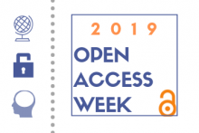 open access week 2019 with icons of globe, lock, brain