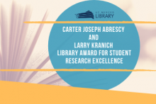 Blue circle logo of library award with an open book in background